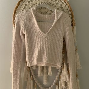 Free people cropped fuzzy hoodie
